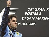 Fernando Alonso celebrates victory in the San Marino Grand Prix