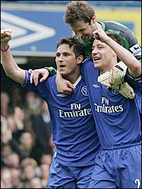 Chelsea's Frank Lampard, John Terry and Petr Cech