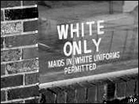 An undated photo of a white-only sign in Louisiana