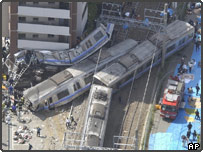 Scene of the Japanese train crash