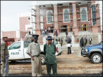 Police outside a Universal Church of the Kingdom of God building in Lusaka (Copyright: Zambia's Post - www.postzambia.com)