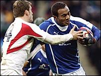 Sailosi Tagicakibau is tackled by England's Mark Cueto at Twickenham
