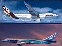 An Airbus A350 and a Boeing 787 jet