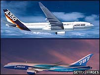 The Airbus A350-800 and the Boeing 787 Dreamliner