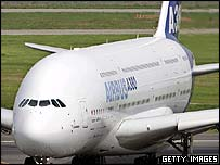 Airbus A380 on the runway
