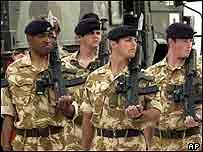 British troops parade in Samawah