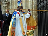 The Rt Rev John Sentamu banged on the door of York Minster