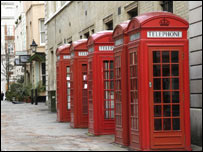 Phone boxes in London, BBC