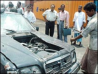 BMW being destroyed by Bangladeshi tax officials