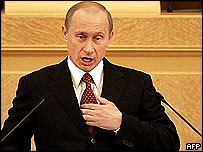 Russia's President Vladimir Putin makes his state of the nation speech