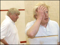 Boris Johnson and father on a squash court