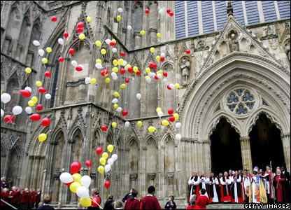Balloons released outside York Minister