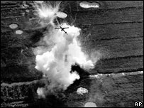 A Cobra helicopter gunship pulls out of an attack on a Vietcong position near Cao Lanh in the Mekong Delta on Jan. 22, 1969
