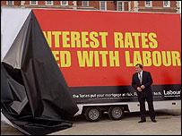 John Prescott unveils an election poster