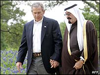 President George W Bush and Saudi Crown Prince Abdullah