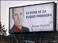 Prague billboard reading: 'I'm ashamed of my prime minister'