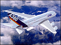Artist's impression of an A380 in flight