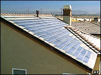 Solar panels on a home in California