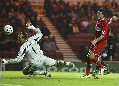 Middlesbrough's Frank Queudrue scores an own goal