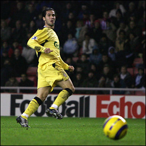 Luis Garcia strokes home Liverpool's opening goal