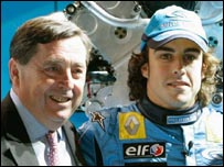Patrick Faure (left) and Fernando Alonso (right)