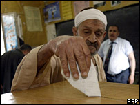 A man casts his ballot in Cairo