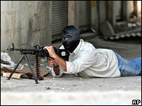Masked gunman on the streets of Ramadi in October