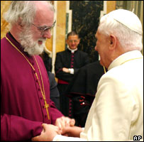 Pope Benedict XVI greets the Archbishop of Canterbury Rowan Williams
