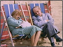 Pensioners sleeping on a Bournemouth beach