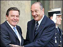 French President Jacques Chirac (right) and German Chancellor Gerhard Schroeder