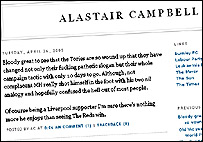 Spoof Alastair Campbell blog page