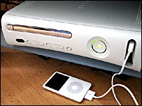 Xbox 360 connected to an Apple iPod