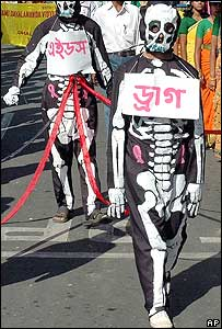 Students dressed as skeletons representing unprotected sexual relationship in Agartalla, Tripura