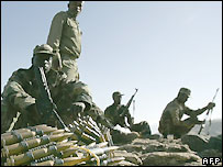 Ethiopian soldiers man an observation post on the border with Eritrea