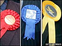 Rosettes for Labour, Tory and Lib Dem parties