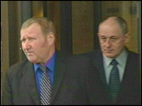 Duncan (left) and Ramsay leaving court in Glasgow