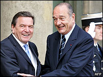 Germany's Chancellor Gerhard Schroeder (left) and France's President Jacques Chirac