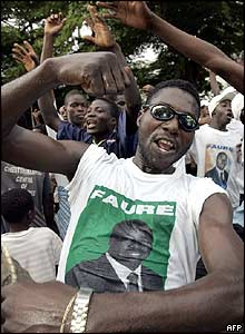 Supporters of Faure Gnassingbe's party celebrate in Lome