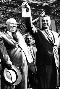 Soviet leader Nikita Khrushchev (left) and Egyptian President Gamal Abdal Nasser during the opening of the Aswan Dam in 1964