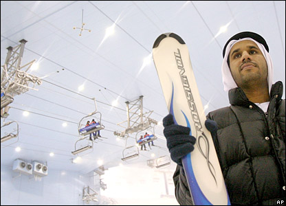 A local skier stands in Ski Dubai park in Dubai
