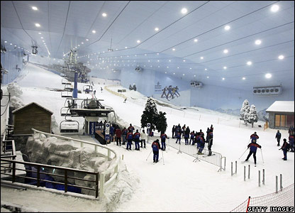 People queue for a ski lift