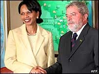 Condoleezza Rice and President Luiz Inacio Lula da Silva