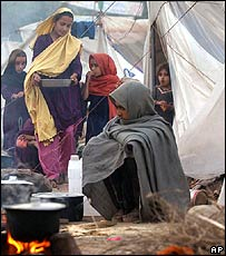 Survivors in a camp in Muzaffarabad
