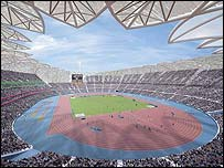 An image of how London's 2012 Olympic stadium would look