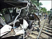 Bus crash site in Sri Lanka