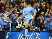 Michael Doyle celebrates in front of the Highfield Road faithful after scoring this season