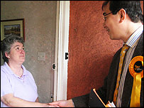 James Main, Lib Dem candidate for Bridgwater greets a voter