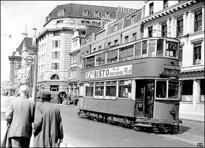 A tram on Westminster Bridge Road in London in 1952