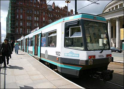 A tram on the Manchester Metrolink