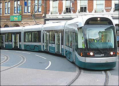 A Nottingham Express Transit tram